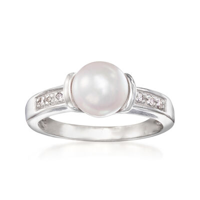 C. 1990 Vintage 7mm Cultured Pearl Ring in 14kt White Gold with Diamond Accents, , default