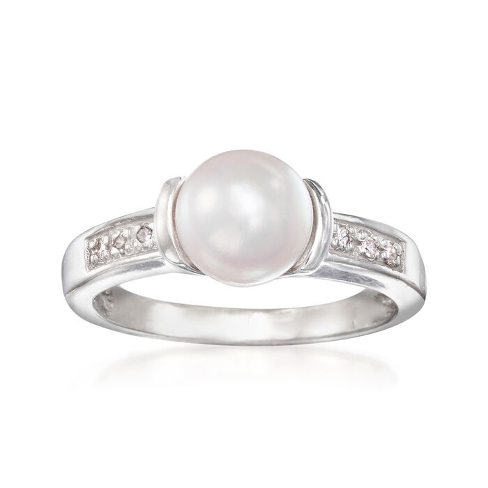 C. 1990 Vintage 7mm Cultured Pearl Ring in 14kt White Gold with Diamond Accents. Size 6.5