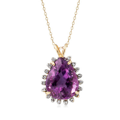 C. 1970 Vintage 20.30 Carat Amethyst and .36 ct. t.w. Diamond Pendant Necklace in 14kt Yellow Gold, , default