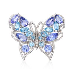 2.20 ct. t.w. Tanzanite and 1.20 ct. t.w. Blue Topaz Butterfly Ring in Sterling Silver, , default