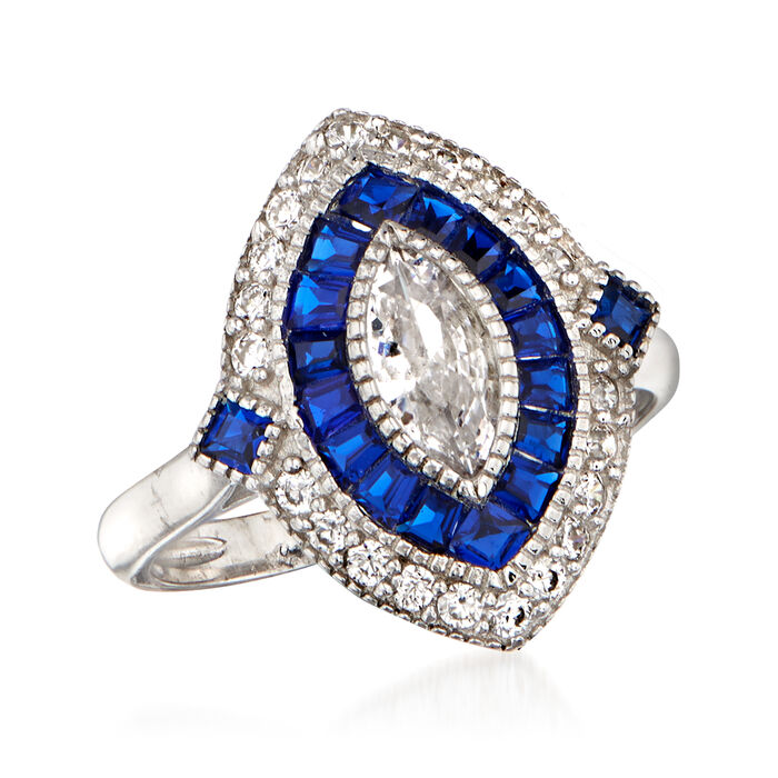 .80 ct. t.w. CZ and .80 ct. t.w. Simulated Sapphire Ring in Sterling Silver