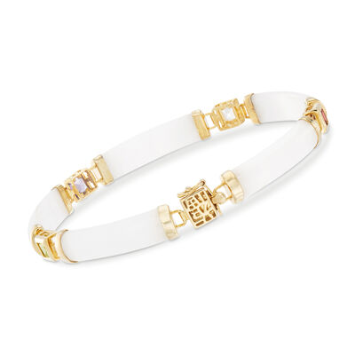 "1.40 ct. t.w. Multi-Gem and White Jade ""Bless"" Bracelet in 14kt Gold Over Sterling"