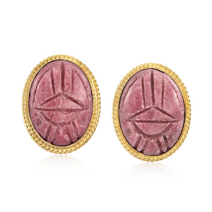 Pink Rhodonite Scarab Earrings in 14kt Yellow Gold