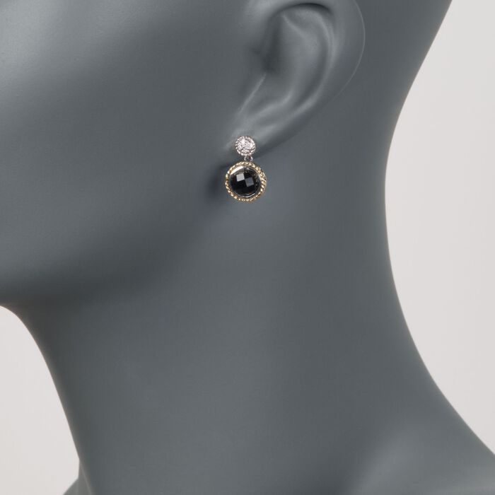 Andrea Candela Black Onyx Doublet Earrings with Diamonds in Sterling Silver and 18kt Yellow Gold