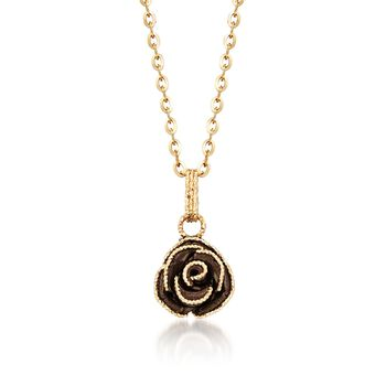 """Italian Rose Necklace in 14kt Yellow Gold. 18"""", , default"""