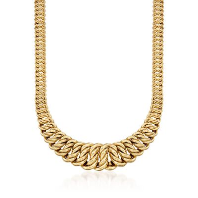 14kt Yellow Gold Graduated America-Link Necklace, , default