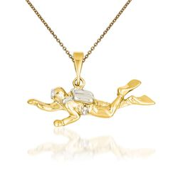 "14kt Yellow Gold Scuba Diver Pendant Necklace. 18"", , default"
