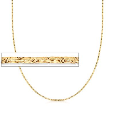 2mm 14kt Yellow Gold Byzantine Chain Necklace, , default