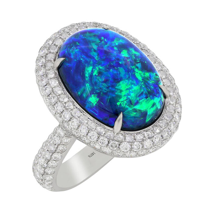 Black Opal and 1.80 ct. t.w. Diamond Halo Ring in 18kt White Gold
