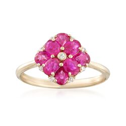 1.30 ct. t.w. Ruby Floral Ring With Diamond Accents in 14kt Yellow Gold, , default