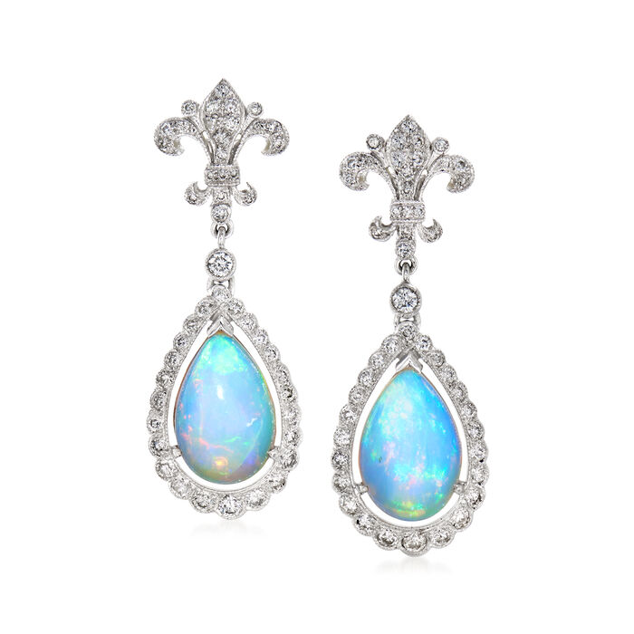 C. 2000 Vintage Opal and 1.00 ct. t.w. Diamond Drop Earrings in 18kt White Gold, , default