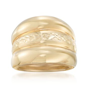 Italian 14kt Yellow Gold Ribbed and Diamond-Cut Ring. Size 5, , default