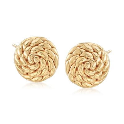 Italian 18kt Yellow Gold Twisted Circle Earrings, , default
