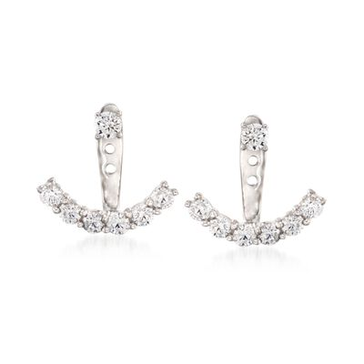 .90 ct. t.w. CZ Jewelry Set: Earrings and Front-Back Jackets in Sterling Silver, , default