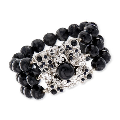 2-12mm Black Onyx and .10 ct. t.w. CZ Floral Stretch Bracelet in Sterling Silver, , default