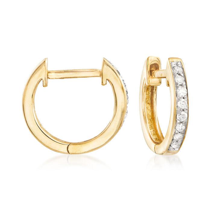 """.10 ct. t.w. Diamond Huggie Hoop Earrings in 14kt Yellow Gold. 3/8""""."""