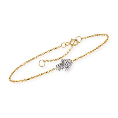 .11 ct. t.w. Diamond Hamsa Hand Bracelet in 14kt Yellow Gold