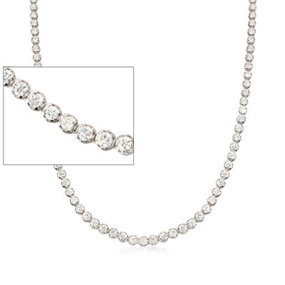 10.00 ct. t.w. CZ Tennis Necklace in Sterling Silver