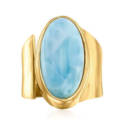 Larimar Ring in 18kt Gold Over Sterling