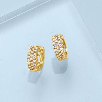 ".80 ct. t.w. CZ Huggie Hoop Earrings in 14kt Gold Over Sterling. 3/8"""