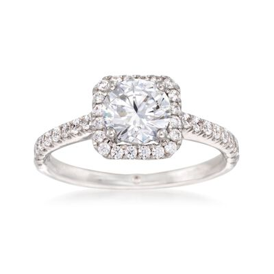 Gabriel Designs .45 ct. t.w. Diamond Square Halo Engagement Ring Setting in 14kt White Gold, , default