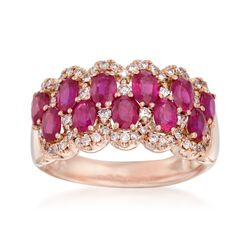 2.50 ct. t.w. Ruby and .45 ct. t.w. Diamond Ring in 14kt Rose Gold, , default
