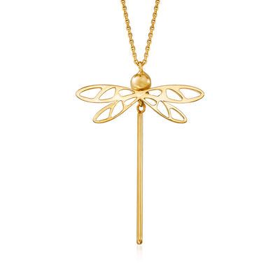 Italian 14kt Yellow Gold Dragonfly Necklace