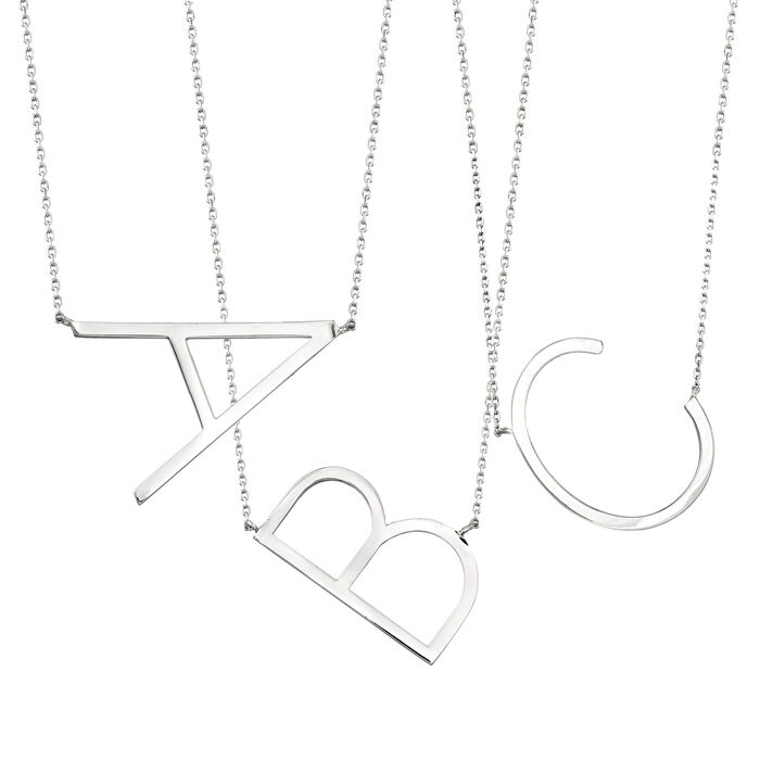 Sterling Silver Sideways Single Initial Necklace