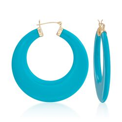 "Large Turquoise Hoop Earrings in 14kt Yellow Gold. 1 7/8"", , default"