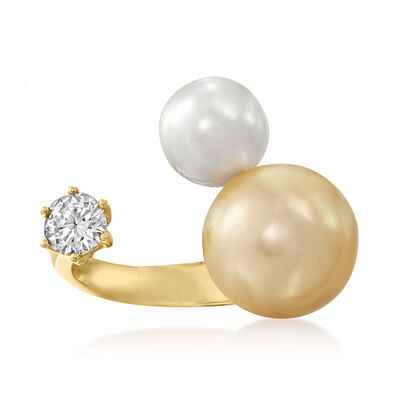 9-13mm Golden and White Cultured South Sea Pearl and .50 Carat Diamond Ring in 18kt Yellow Gold