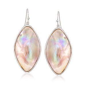 Pink Mother-Of-Pearl Slice Drop Earrings in Sterling Silver #848688