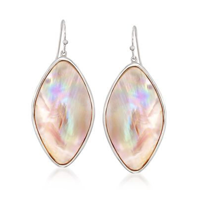 Pink Mother-Of-Pearl Slice Drop Earrings in Sterling Silver