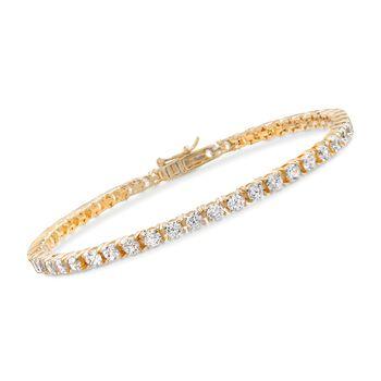 5.00 ct. t.w. CZ Tennis Bracelet in 14kt Gold Over Sterling, , default