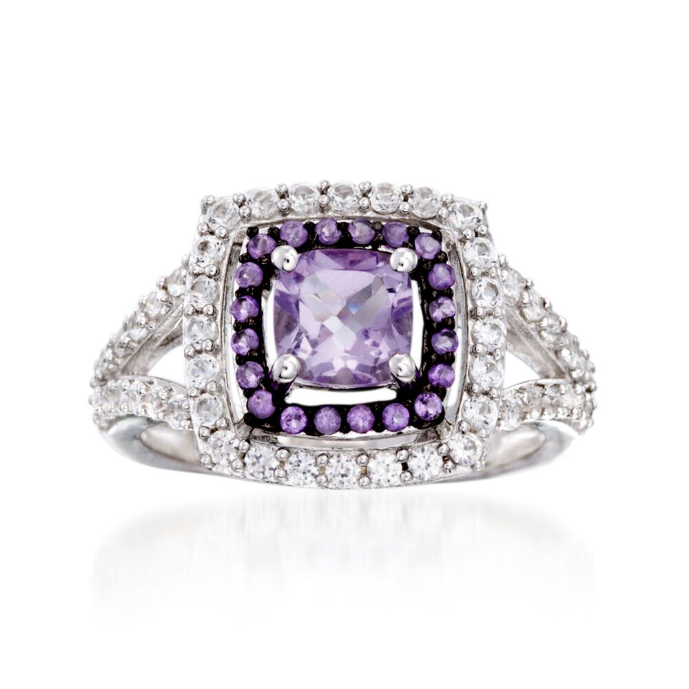 2 80 ct  t w  Amethyst and  90 ct  t w  White Synthetic Sapphire Ring in  Sterling Silver