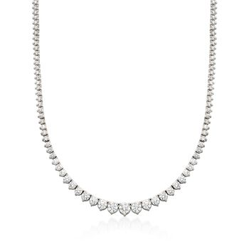 """10.00 ct. t.w. Graduated Diamond Tennis Necklace in 14kt White Gold. 16"""", , default"""