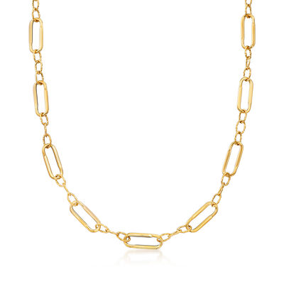 Italian 14kt Yellow Gold Paper Clip Link Station Necklace, , default