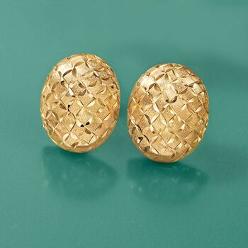 14kt Yellow Gold Brushed and Faceted Dome Earrings, , default