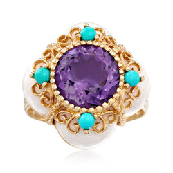 C. 1980 Vintage White Onyx and 3.00 Carat Amethyst Ring With Reconstructed Turquoise in 14kt Yellow Gold, , default