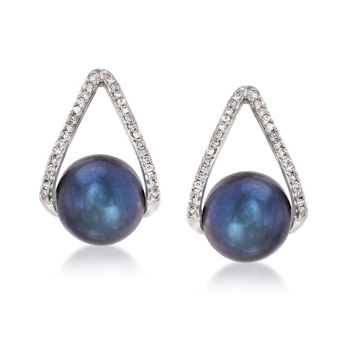 8-8.5mm Black Cultured Pearl and .12 ct. t.w. Diamond Drop Earrings in 14kt White Gold, , default