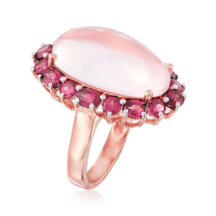 12.00 Carat Rose Quartz and 6.30 ct. t.w. Rhodolite Garnet Ring in 18kt Rose Gold Over Sterling