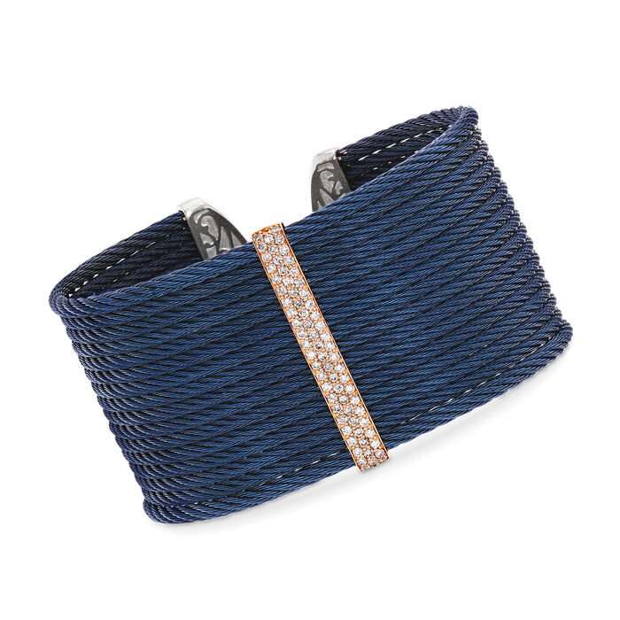 """ALOR """"Classique"""" .56 ct. t.w. Diamond Blue Cable Cuff Bracelet in Stainless Steel with 18kt Rose Gold"""