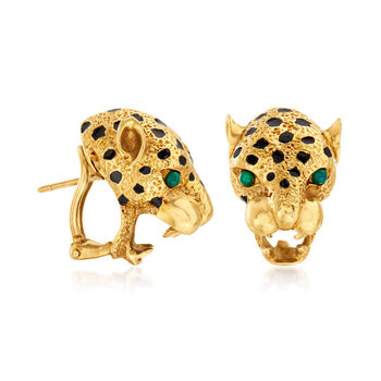 C. 1980 Vintage 18kt Yellow Gold Panther Head Earrings with Green Chalcedony and Black Enamel, , default