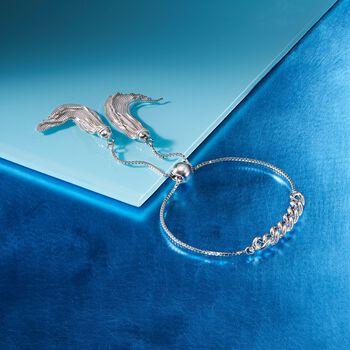 Italian Sterling Silver Link and Tassel Bolo Bracelet, , default