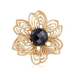 8mm Black Onyx Flower Ring in 14kt Yellow Gold, , default