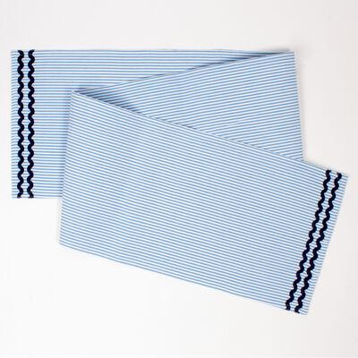 Blue Seersucker Table Runner, , default
