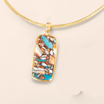 Mosaic Kingman Turquoise Pendant in 18kt Gold Over Sterling, , default