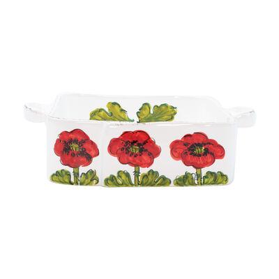 "Vietri ""Lastra"" Poppy Flower Square Baker from Italy, , default"