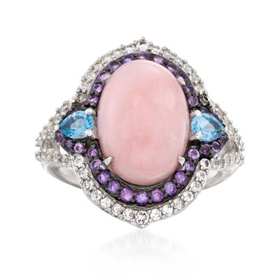 Pink Opal and 1.35 ct. t.w. Multi-Stone Ring in Sterling Silver, , default