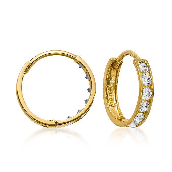 "Child's .25 ct. t.w. CZ Hoop Earrings in 14kt Yellow Gold. 3/8"", , default"