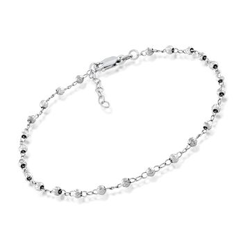 """3mm Sterling Silver Diamond-Cut Bead Station Anklet. 9"""", , default"""